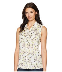Cruel Sleeveless Floral Rayon Blouse Multicolored Clothing