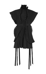 Nabil Nayal Pleated Batwing Sleeve Shirt Dress Black