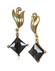 Badgley Mischka Faceted Drop Earrings Gold