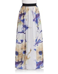A.B.S. By Allen Schwartz Floral Print Maxi Skirt Royal Multi