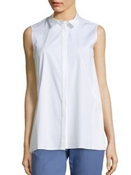 Lafayette 148 New York Kelsi Sleeveless Shirt White