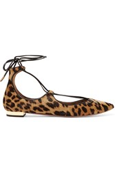 Aquazzura Christy Leopard Print Calf Hair Point Toe Flats Leopard Print