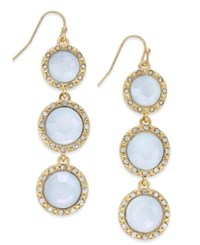 Inc International Concepts Gold Tone Blue Triple Stone Linear Drop Earrings Only At Macy's