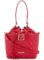 Love Moschino Drawstring Quilted Shoulder Bag Women Polyurethane One Size Red