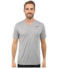 Nike Legend 2.0 Short Sleeve V Neck Tee Dark Grey Heather Black Black Men's T Shirt Gray