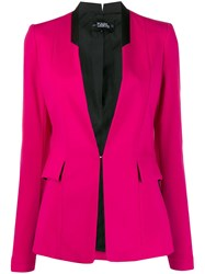 Karl Lagerfeld Fitted Lapeless Blazer Pink