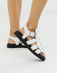Bronx White Leather Chunky Gladiator Sandal