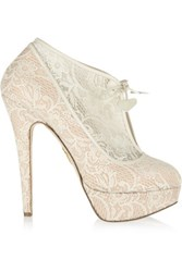 Charlotte Olympia Minerva Lace And Satin Ankle Boots Ivory