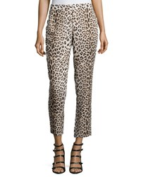 Haute Hippie Leopard Print Cropped Pants Women's Size 6 Tan Black Buff Black
