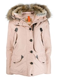 Parajumpers Fur Trimmed Padded Coat Pink