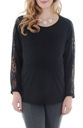 Everly Grey Women's Kira Lace Sleeve Maternity Top Black