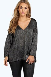 Boohoo Summer V Neck Split Side Glitter Jumper Black