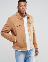 Asos Wool Mix Jacket With Borg Lining In Camel Camel Beige