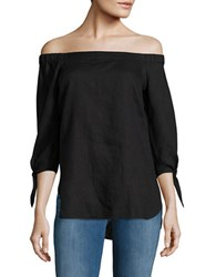 Lord And Taylor Off The Shoulder Tie Cuff Top Black