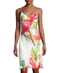 Josie Natori Tropics Watercolor Silk Chemise Multicolor Multi Pattern