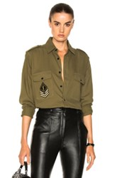 Saint Laurent Oversized Army Shirt In Green