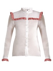 Jupe By Jackie Americano Embroidered Cotton Organdy Shirt White