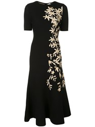 Oscar De La Renta Floral Print Knitted Midi Dress Black
