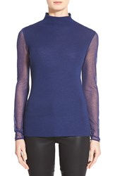 Elie Tahari 'Maxina' Sheer Sleeve Merino Sweater Boho Blue