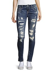 Miss Me Heavy Distroyed Skinny Fit Jeans Medium Blue