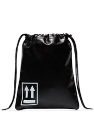 Off White Small Drawstring Pouch Bag Black