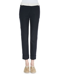 Band Of Outsiders Contrast Waist Cuffed Ankle Pants 2 Uk 1