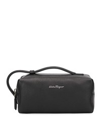 Salvatore Ferragamo Firenze Leather Toiletry Bag Black