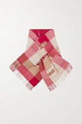 Holzweiler Net Sustain Fringed Padded Checked Wool And Cashmere Blend Scarf Red