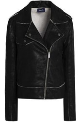 Splendid Coated French Cotton Terry Biker Jacket Black