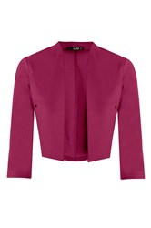 Quiz Berry Crop 3 4 Sleeve Jacket Pink