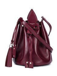 Saint Laurent Leather Bucket Bag With Tassels Women Leather One Size Red