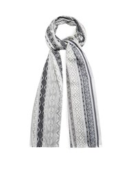 Etro Printed Cotton Blend Scarf Grey Multi
