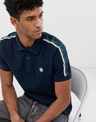 Pretty Green Taped Polo In Navy