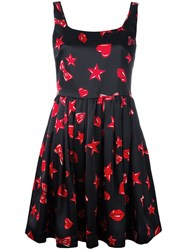Moschino Heart Print Skater Dress Black