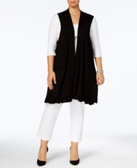 Alfani Plus Size Ruffled Hem Sweater Vest Created For Macy's Deep Black