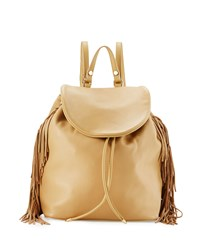 Sam Edelman Fifi Leather Fringe Backpack Camel