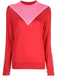 Adam By Adam Lippes Colour Block Sweater Red