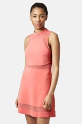 Topshop Sleeveless Mock Turtleneck Mesh Insert Skater Dress Juniors Pink