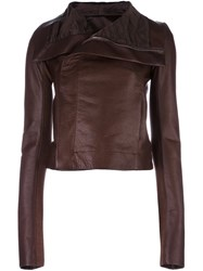 Rick Owens Draped Collar Biker Jacket Brown