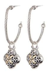 Phillip Gavriel 18K Yellow Gold And Sterling Silver Dangle Flower Detail Hoop Earrings Multi