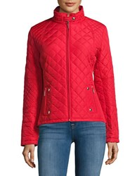 Weatherproof Diamond Quilted Bomber Jacket Red