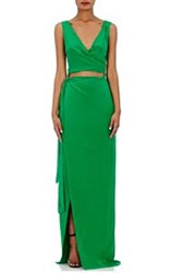 Azeeza Crepe De Chine Wrap Gown Green