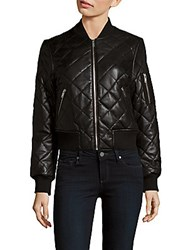 7 For All Mankind Quilted Leather Baseball Collar Jacket Black