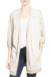 Women's Caslon Roll Sleeve Oversize Cardigan Heather Oatmeal