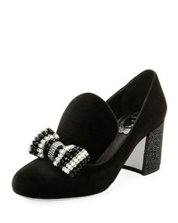 Rene Caovilla Velvet Embellished Bow Loafer Pump Black Multi Black Pattern