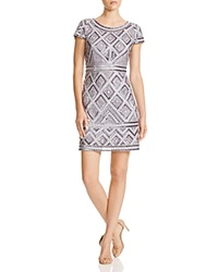 Adrianna Papell Cap Sleeve Beaded Dress Silver Grey