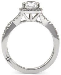 Twist Halo By Marchesa Certified Diamond Engagement Ring In 18K White Gold 1 1 3 Ct. T.W.