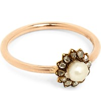 Annina Vogel 9Ct Rose Gold Diamond And Pearl Cluster Ring