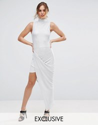 Club L Plisse Maxi Dress With High Neck Silver
