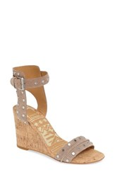 Dolce Vita Women's Dante Studded Wedge Sandal Taupe Nubuck Leather